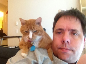 Yep, Marmalade and I are hanging out, waiting on my husband.