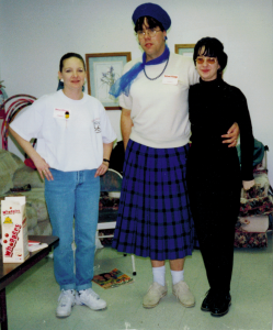 In 1997 I am in the skirt, the hubby is wearing all black (before transition of course).