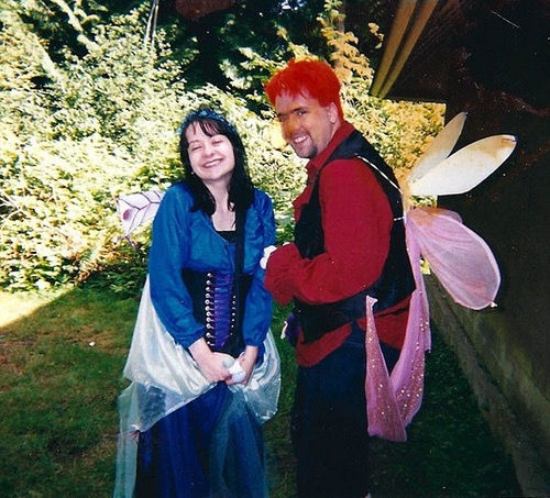"Jello was only a faerie for a couple of LARPing events (on the right), I was a faerie for a couple of years with eventually those pink wings of mine had flashing glow lights that could be seen in the fog... they would know when I was killed in character because the lights would dance through the fog, then I would go down and they would blink from the ground. I could hear in the fog people yelling ""Maple is down again"" (Maple was my character name). Oh god now I am not sure if that was my name now that I typed it out..."